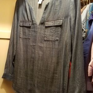 Soft Surroundings tencel denim long sleeved top